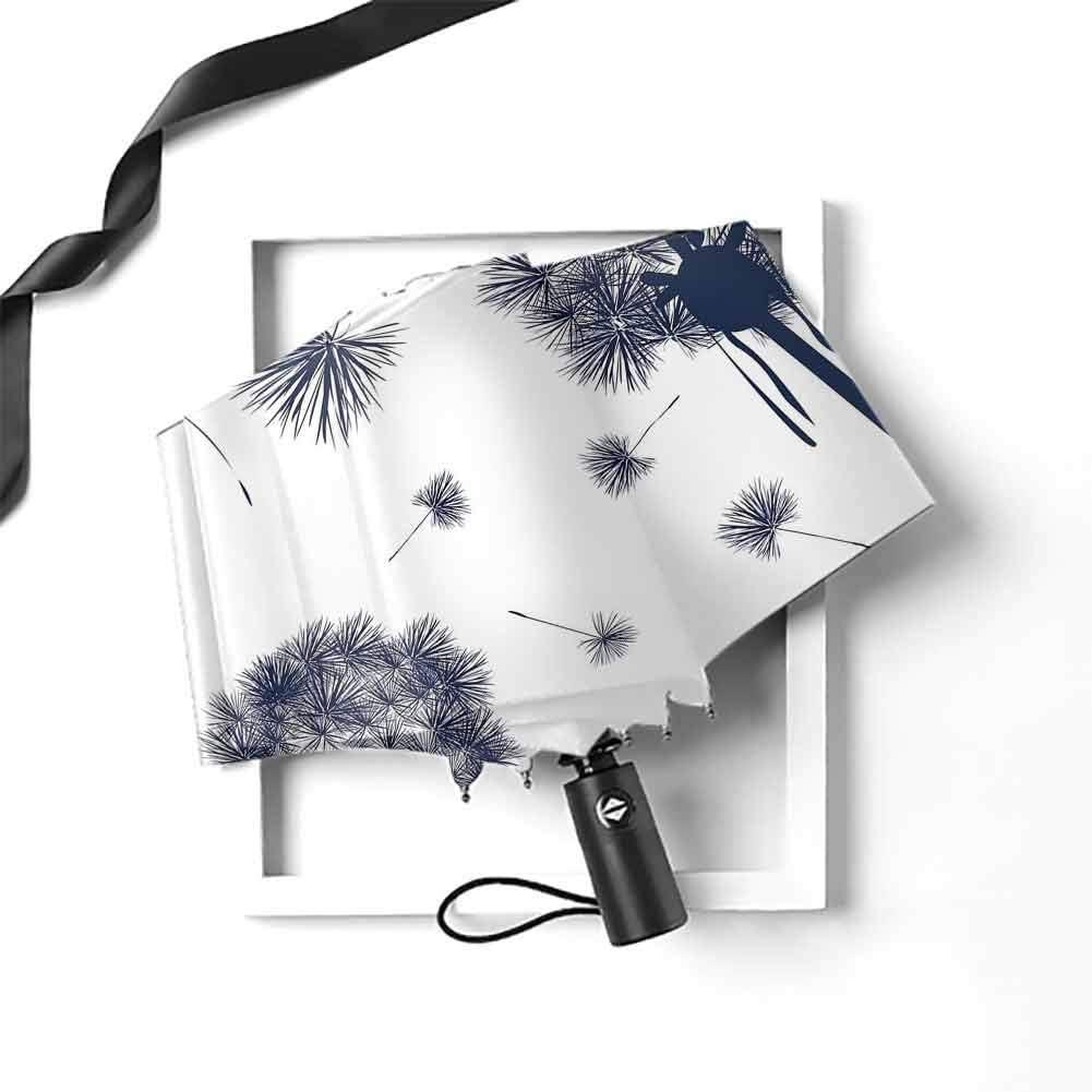 Dandelion Folding Umbrella Monochrome Flowers with Pollens Flying Blooming Nature Inspiration Botany Theme Windproof UV Compact Folding Umbrellas for Men and Women Traveler 38X24 Indigo White