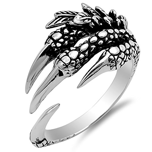 - Gothic Wraparound Eagle Claw Sterling Silver Ring Size 6