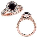 1.38 Carat Black Diamond Fancy Designer Halo Engagement Anniversary Wedding Bridal Ring 14K Rose Gold