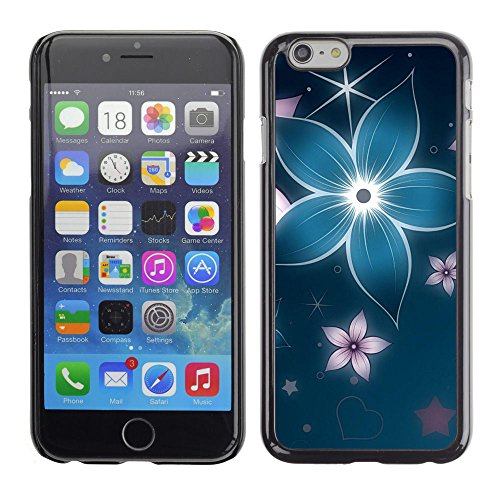 LASTONE PHONE CASE / Coque Housse Etui Shock-Absorption Bumper et Anti-Scratch Effacer Case Cover pour Apple Iphone 6 / Floral Flower Petal Blue Star Iridescent
