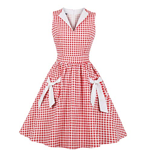 Wellwits Women's Red Check Blazer V Neck Pocket 1950s Vintage Swing Dress L