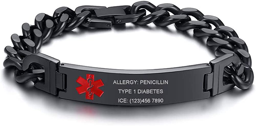 MEALGUET Black Free Engrave Emergency Stainless Steel Curb Cuban Chain ID Bracelet Medical Alert Identification Wristband for Men