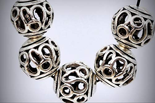 5 Beads Lot - 5 Pcs of 10mm Antique Silver Style Plated Spacer Beads Carve Round Loose Jewelry Making Beads Hole 2.5mm DIY for Handmade Bracelet Necklace \ Craft Supplies from Inna-Wholesale Art Crafts