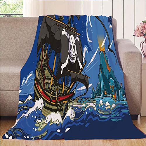 Throw Blanket Super soft and Cozy Fleece Blanket Perfect for Couch Sofa or bed,Pirate,Caribbean Waters Adventure Time Volcano Explosion Sea Storm Skull Island Jolly Roger,Multicolor,47.25