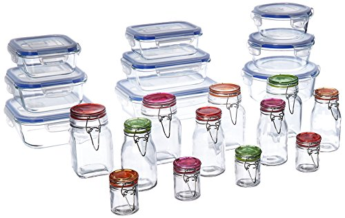 Kinetic 11477 Go Green Glassworks Elements Series 30 Piece Set Glass Food Storage Container with Lid and Mini Jar, Clear