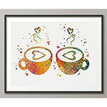 Hot Couple Mug Watercolor Art Print Romantic Love Wall Art Wall Decor Home Decor Wall Hanging Room Decor …