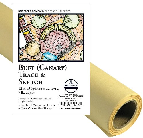 24-Inch by 20-Yards Bee Paper White Sketch and Trace Roll