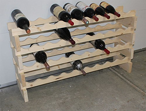 Stackable Modular Wine Rack Storage Stand Wooden Holder Shelves, for Magnum Size Bottles, WN50