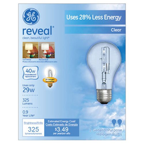 GE Lighting 62607 Reveal Clear 29-Watt (40-watt replacement) 325-Lumen A19 Light Bulb with Medium Base, 2-Pack (A19 Base Medium Lights)