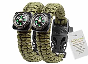 A2S Paracord Bracelet Compass Whistle Lighter Set of Two Survival Gear (Army Green / Army Green)