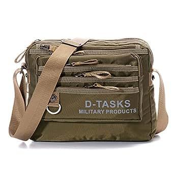 Crossbody Bag, D-Tasks Tactical Water-Resistant Shoulder Bag Travel Messenger Purse Army Green