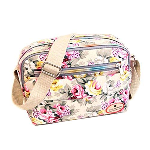 ZOONAI Women Canvas Crossbody Messenger Shoulder Sling Bag Floral Handbag Purse (Beige)