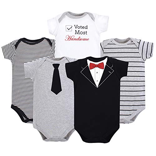 Little Treasure Unisex Baby Cotton Bodysuits, Tuxedo 5-Pack Short-Sleeve, 18-24 Months (24M)