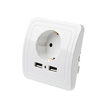 4* Wandsteckdose Steckdose mit Dual 2.1A USB Ladeanschlüsse Anschluss Ladegerät