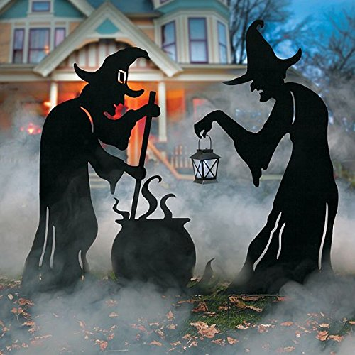 Large Black Metal Witch Scene Display Outdoor Spooky Halloween Decoration With Solar Lantern ()