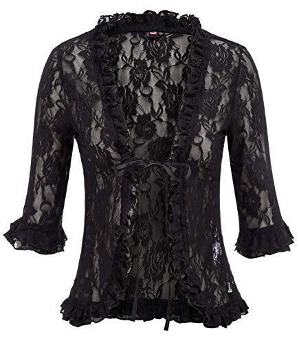 - Women's Open Front Lace Cardigan Crochet Ruffle Open Front Shrug(L,Black)