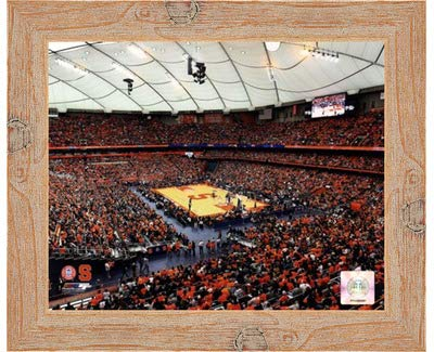 Poster Palooza Framed Carrier Dome Syracuse University Orangemen 2013-10x8 Inches - Art Print (Natural Knotty Frame)