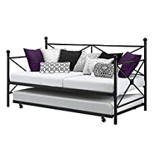 Twin Size Modern Black Metal Daybed with Trundle
