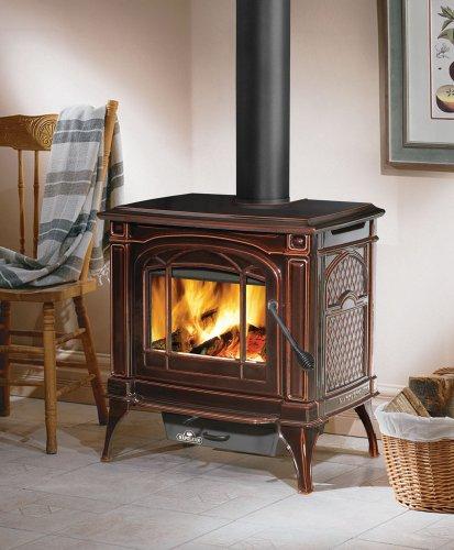 - EPA Cast Iron Wood Burning Stove Finish: Porcelain Enamel Majolica Brown