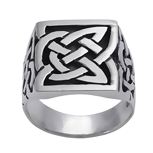 Silverly Men's Women's .925 Sterling Silver Unisex Large Oxidised Celtic Knot Square Signet Ring
