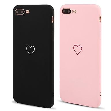 new arrival 47639 224f5 LAPOPNUT 2 Pack for iPhone 7 Case iPhone 8 Case Fashion Cute Love-Heart  Shape Matte Case Anti-Scratch Soft TPU Cover Back Bumper for Apple iPhone  ...