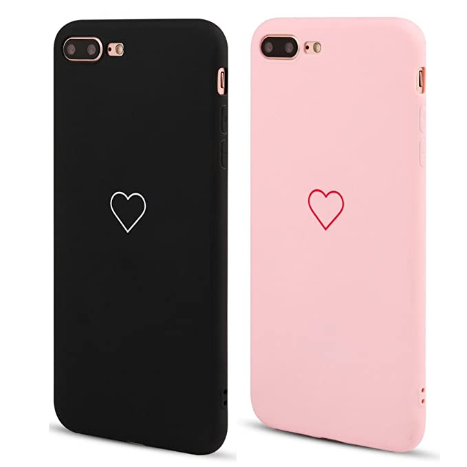Lapopnut 2 Pack For I Phone 7 Case I Phone 8 Case Fashion Cute Love Heart Shape Matte Case Anti Scratch Soft Tpu Cover Back Bumper For Apple I Phone 7/I Phone 8,Pink&Black by Lapopnut