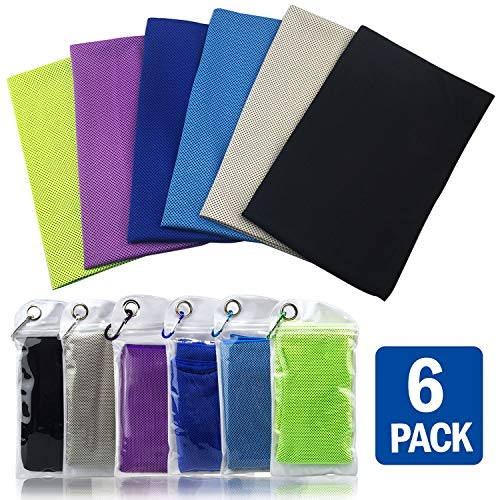 Cooling Towel for Neck 4&6 Pack Bulk, Workout Towels Gym for Women/Men, Microfiber Soft Breathable Towel Instant Cooling Relief for Sports, Tennis Gifts,Hot Yoga, Travel, Camping & More