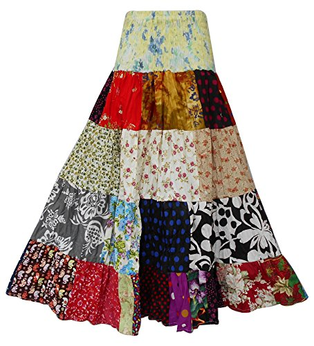 Bonya Women's Boho/Hippie Colorful Ruffle Patchwork Long Tiered Skirt Hippie Patchwork Skirts