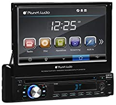 "Shift your music into high gear with the Planet Audio P9759B Single-DIN DVD Player with a 7"" Motorized Touchscreen Monitor. Cruise along while listening to your favorite tunes on the DVD/CD Player, AM/FM radio, your Smartphone or MP3 Player t..."