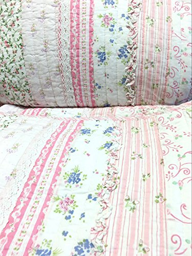 Cozy Line Home Fashions Pink Rose Romantic Chic Lace Bedding Quilt Set, Floral Flower Printed 3D Stripe 100% COTTON Reversible Coverlet Bedspread Gifts for Girls Women (Queen - 3 piece) by Cozy Line Home Fashions (Image #6)