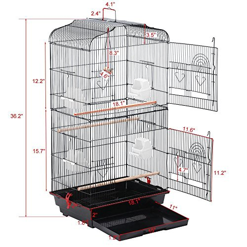 Yaheetech 36'' Metal Bird Cage Parrot Finch Cage Macaw Cockatoo Pet Play w/Perch Stand by Yaheetech (Image #3)