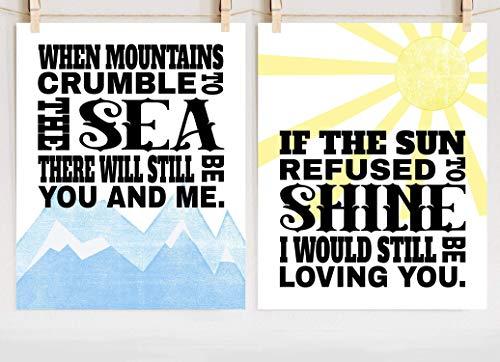 Led Zeppelin Thank You Print Set, Fine Art Lyric Poster Set of Two, Sizes 8x10-16x20 ()