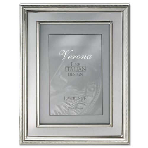 (Lawrence Frames 5 by 7-Inch Silver Plated Metal Picture Frame, Brushed Silver Inner Panel)