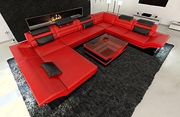 Luxus Couch Enzo Xxl Mega Wohnlandschaft Led Rot Schwarz Amazon
