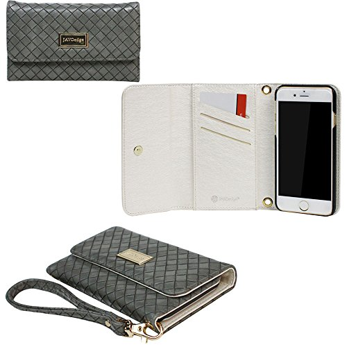 JAVOedge+Gray+Weaving+Clutch+Style+Wallet+Case+/+Card+Holder+with+Removable+Wristlet+for+the+Apple+iPhone+6+Plus+(5.5)