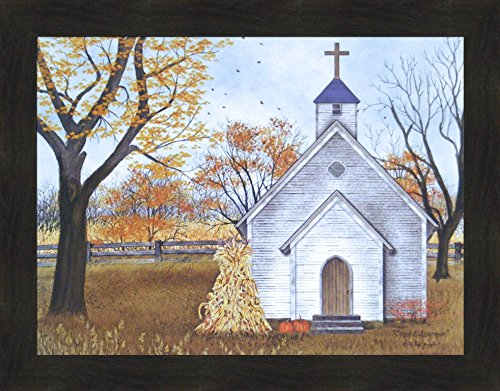 Blessed Assurance by Billy Jacobs Country Church Steeple Cross Corn Shock Pumpkins