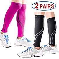 Udaily Calf Compression Sleeves for Men & Women 2 Pairs (20-30mmhg) - Calf Support Leg Compression Socks for Shin Splint & Calf Pain Relief - Calf Guard for Running, Cycling, Maternity, Travel, Nurses