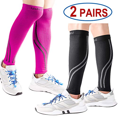 Pain Leg Calf - Udaily Calf Compression Sleeves for Men & Women 2 Pairs (20-30mmhg) - Calf Support Leg Compression Socks for Shin Splint & Calf Pain Relief - Calf Guard for Running, Cycling, Maternity, Travel, Nurses