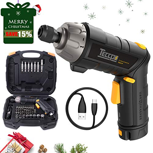 Merry Christmas Electric Cordless Screwdriver Rechargeable, 4V 2.0Ah Li-ion, Torque 6Nm, 9+1 Torque Gears, 45 Pcs Bits, Adjustable 2 Position Handle with LED, USB Charging - TECCPO TDSC01P