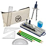 16 Piece Geometry School Set by Ferocious Viking, with Quality Compass, Linear Ruler, Set Squares, Protractor, Pencils, Mechanical Pencils, Pencil Sharpener, Eraser, Lead, and Cool Pencil Case