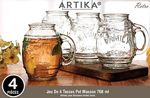Set of 4 Glass Beer Mugs / Barrel Mugs, 26 Oz / 768 ml s.k.i.