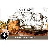 Set of 4 Glass Beer Mugs / Barrel Mugs, 26 Oz / 768 ml