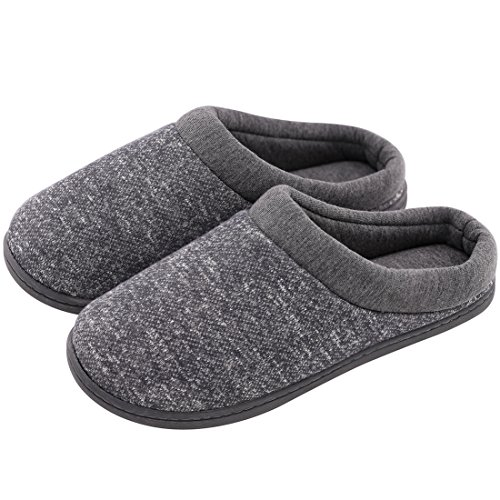 Women's Comfort Slip On Memory Foam French Terry Lining Indoor Clog House Slippers (X-Large / 11-12 B(M) US, Light Gray)