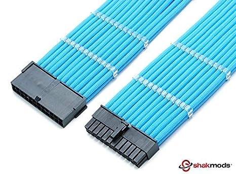 shakmods 24 pines ATX placa base cable de luz azul cable de ...