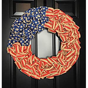 "Patriotic USA American Flag Wreath for Front Door Porch Memorial Day July 4th Veterans Labor Day Indoor Outdoor Summer Americana Home Decor, Burlap, Red White and Blue, Handmade, Choose 20"" or 24"" 50"