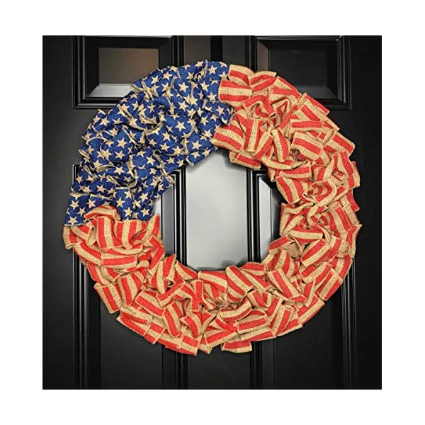 Patriotic USA American Flag Wreath for Front Door Porch Memorial Day July 4th Veterans Labor Day Indoor Outdoor Summer Americana Home Decor, Burlap, Red White and Blue, Handmade, Choose 20″ or 24″