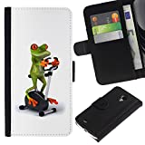 A-type (Gym Sports Frog White Stationary Bicycle) Colorful Printing Holster Leather Wallet Case Pouch Skin Case Cover With Slots&pocket For Samsung Galaxy S4 Mini i9190