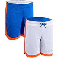 Tarmak SH500R Boy's/Girl's Intermediate Basketball Reversible Shorts Blue White Orange