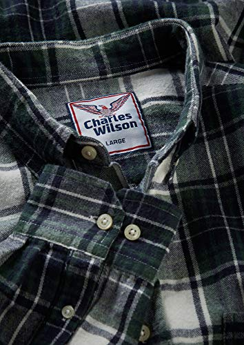 796f8d7927f54 De Cuadros White amp  Para Hombre Franela Larga Manga Charles Camisa Green  Wilson qgUtI