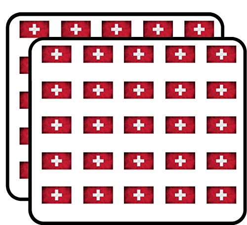 Swiss Bullet (Switzerland Vintage Flag (Swiss Cross red) Sticker for Scrapbooking, Calendars, Arts, Kids DIY Crafts, Album, Bullet Journals)